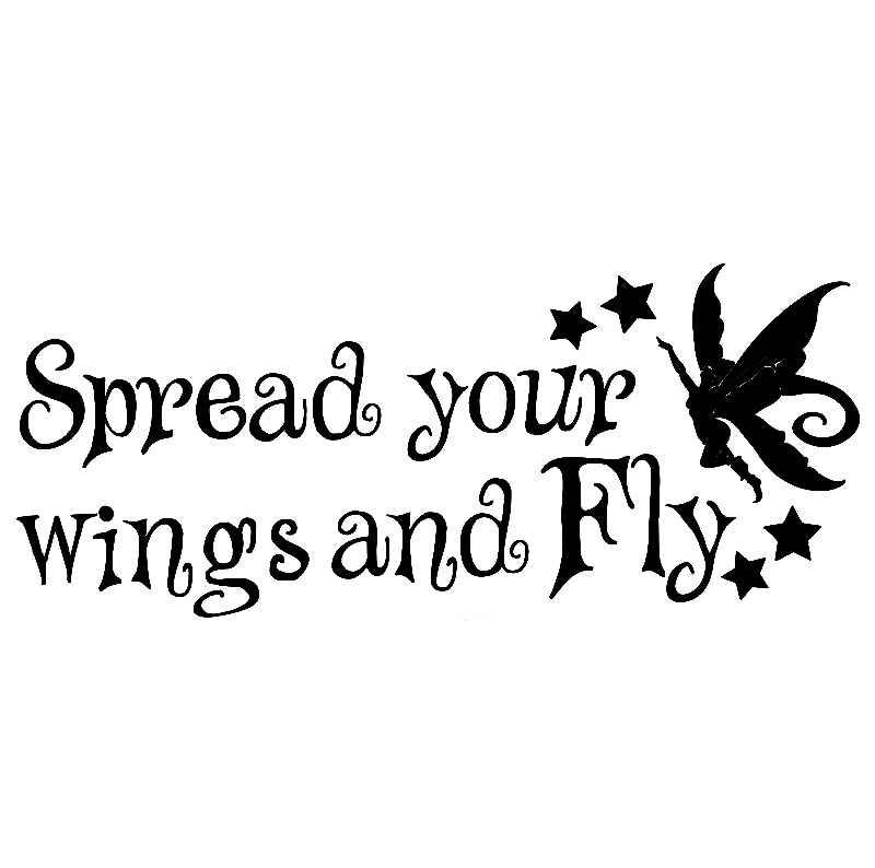 27 х 25 см (незначительная) свои крылья и летать слова Art кузова Стикеры наклейки