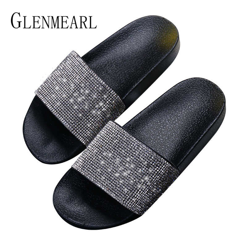 a6f141c41f560 ... Women Slippers Fashion Crystal Flat Heel Summer Shoes Female Indoor  Outside Bling Beach Slides Open Toe ...