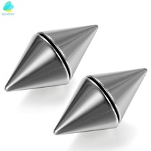 BONISKISS Silver-tone 316L Stainless Men's Magnetic No Piercing Double Side Rivet Ear Stud Fake Plug Cheater(China)