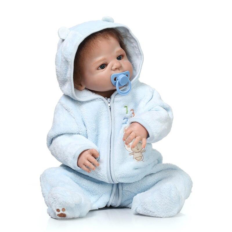 55CM Full Silicone Body Dolls New Reborn Lifelike Baby Toys Reborn Baby Gift Children House Play Partners