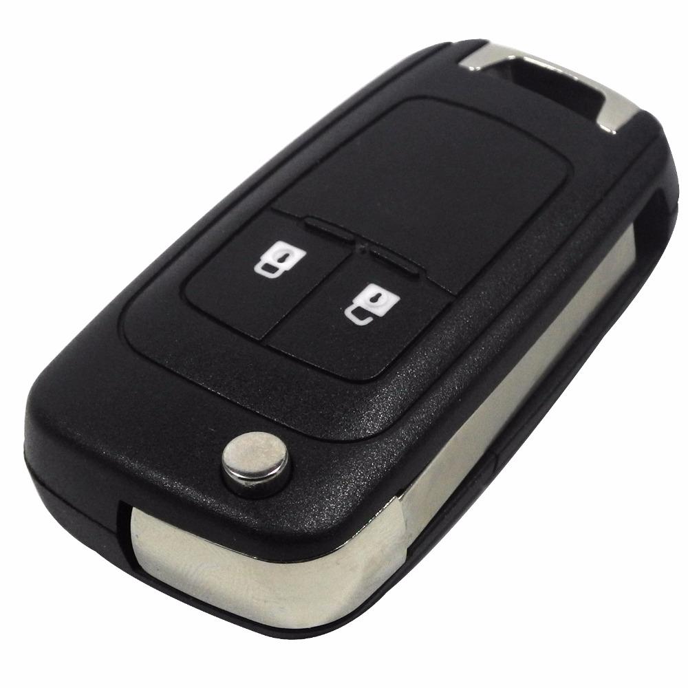 Prix pour 10 pcs/lot 2 Boutons Flip Pliant Shell Key Blank Pour Chevrolet Lova Cas À Distance Fob Couverture de Remplacement Avec Logo