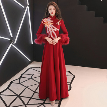 Plus Size 3XL Women Embroidery Flower Cheongsam Red Long Elegant Lady Qipao Flare Sleeve Sexy Bride Wedding Party Dress Gown