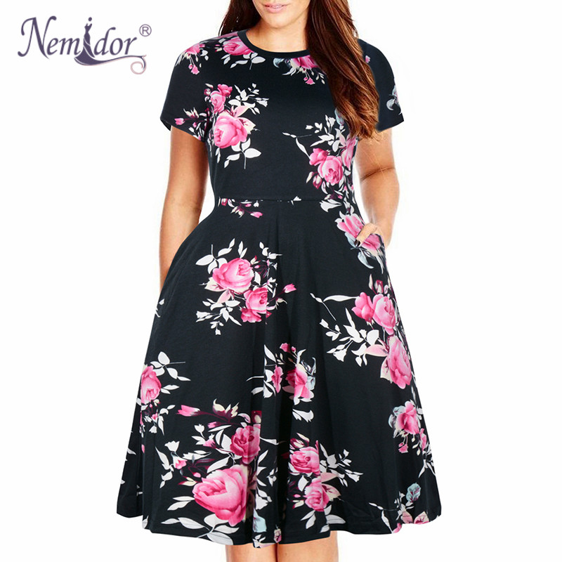 Nemidor Women Casual O-neck Short Sleeve 50s Party A-line Dress Vintage Print Midi Plus Size 8XL 9XL Swing Dress With Pockets