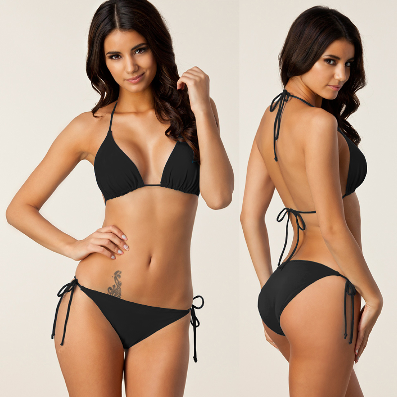 Hottest Classical Black Bikini Solid Plus Size Bikini Set XXL Bathing Suits Removable Pad Fully Lined Women Swimwear