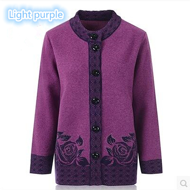 The high quality mother sweater fashion hot diamonds 80% woolen cashmere in elderly women cardigan big size Warm mothers coat