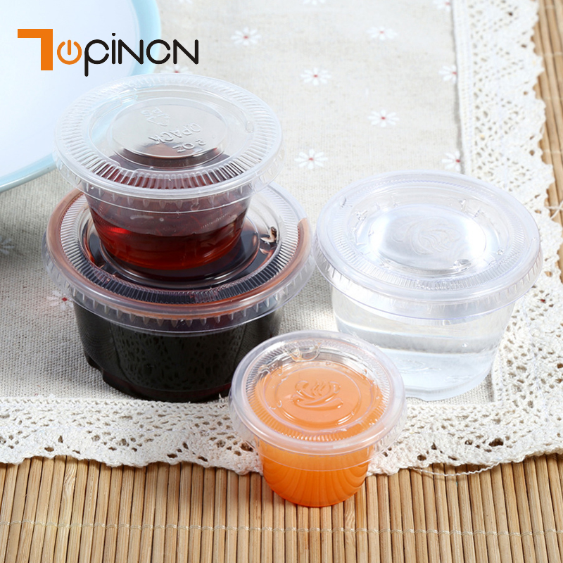 EECOO 50Pcs/Set Disposable Plastic Clear Sauce Cups Boxes