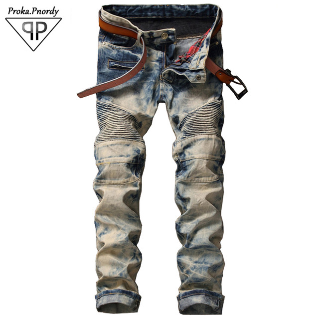 2017 Mens vintage snow wash pleated biker jeans Casual patchwork denim pants Slim straight trousers Plus Size 38
