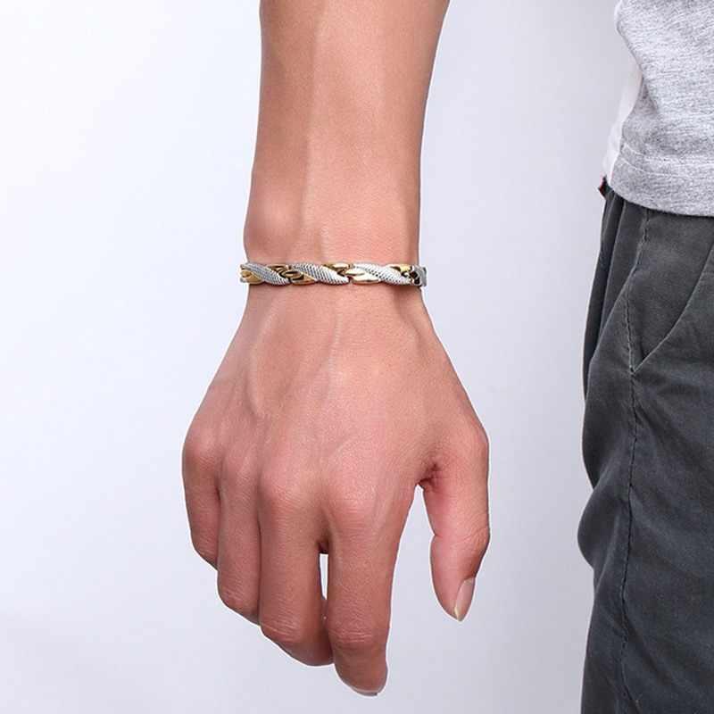 Vinterly energia magnetyczna bransoletka mężczyzn złoty kolor łańcuch opaska do monitorowania stanu zdrowia męskie germanu ze stali nierdzewnej bransoletki magnetyczne dla mężczyzn