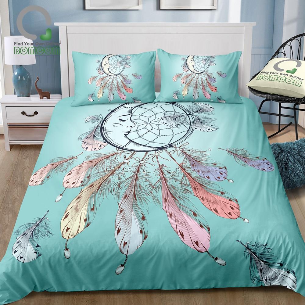 BOMCOM 3D Digital Printing Boho Tribal Fashion Illustration With Dreamcatcher Duvet Cover Set 100 Microfiber Tiffany