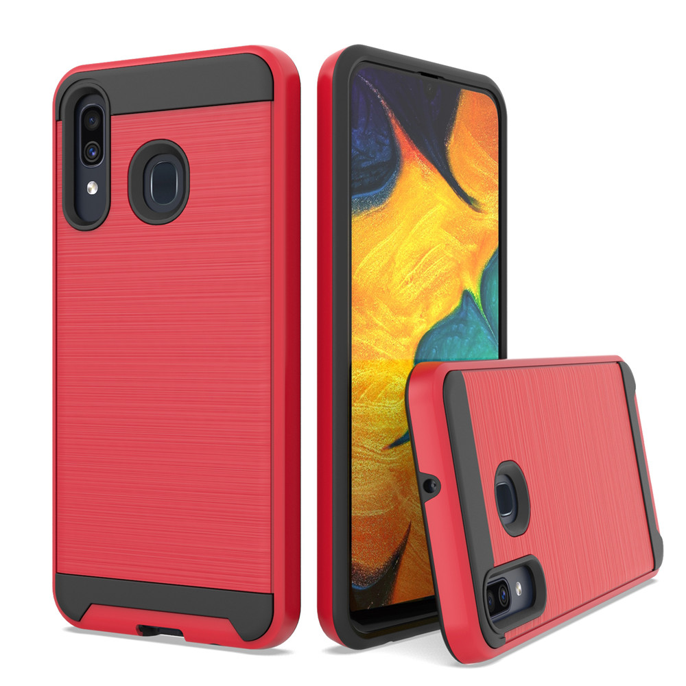 For Samsung Galaxy A20/A30/A50 Dual Layer Hybrid Brushed Armor Case Anti Shock Soft TPU&Hard Back Cover image