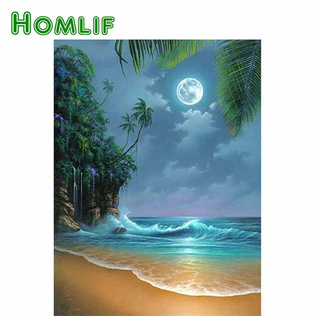 HOMLIF DIY 5d diamond painting Scenery Seaside beach Diamond Embroidery Cross stitch Home Decor Sea View Wall Stickers Gift Art