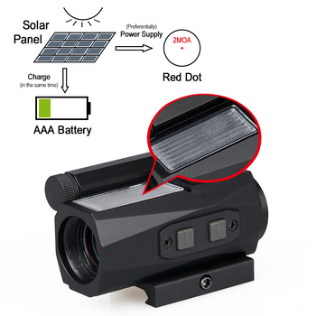 Canis Latrans 1x20 Solar Red Dot 2MOA Reddot Rifle Scope Magnification 1X Black Aluminum Alloy for Outdoor Hunting GZ2-0104