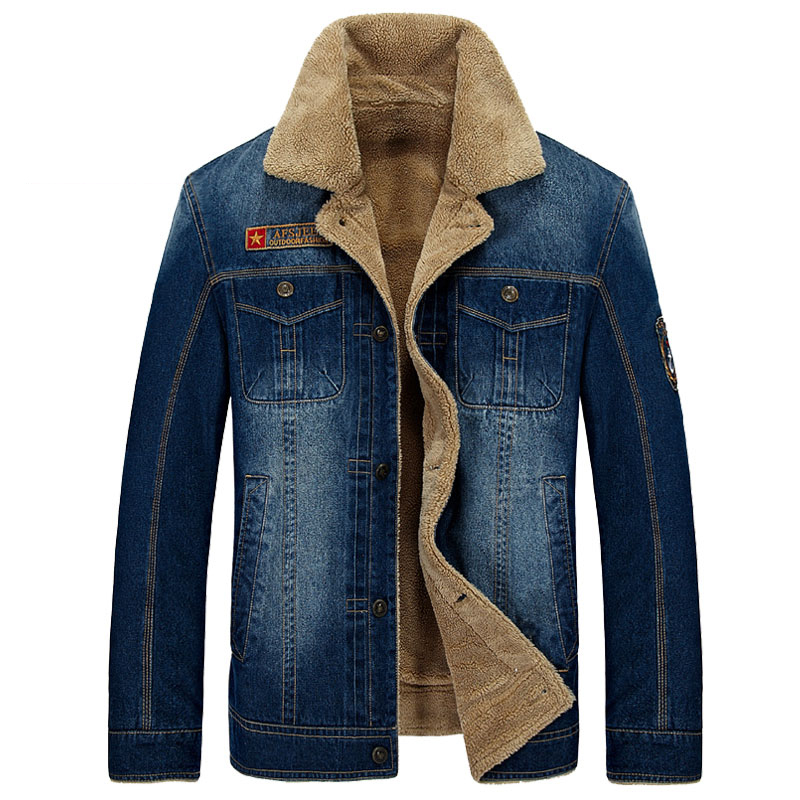 M~4XL New Retro Warm Denim Jackets Mens Jeans Coats Winter Jackets Brand AFS JEEP Thicken Denim Coat Men Outwear Male Asian Size new afs jeep brand autumn and winter man jeans men pants straight cotton male denim brand jeans more pocket overalls