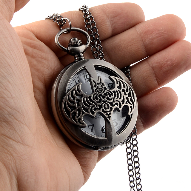 High Quality Dark Gray Steampunk Titanium Steel Batman Pocket Watch Necklace Mens/Womens jewelry