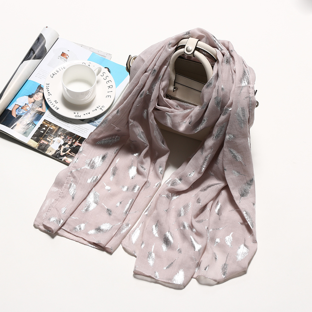 1PC Womens Spring Silk Scarves Shawl Long Soft Cotton Autumn Warm Elegant Feather Scarf Female Scarves