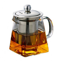 Glass Teapot with Infuser Stainless Steel Filter Tea Kettle Heat Resistant Coffee Tea Pots Strainer 350ml 550ml 750m Sqaure Jug|Teapots|   -
