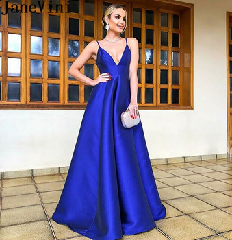 JaneVini Sexy Royal Blue Long Prom Dresses 2019 Deep V-Neck Backless Women Gala Gowns Satin Spaghetti Straps Formal Party Dress