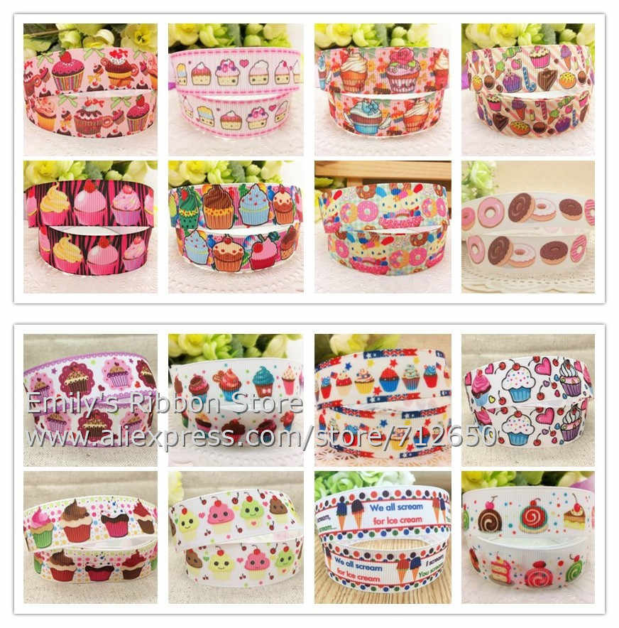 7/8'' 22mm width Cupcakes Printed grosgrain ribbon cartoon food fruit ribbon hairbow clothing bakery accessory gift pack