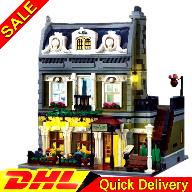 With light Lepin 15010B 15010 2418Pcs Creator Expert City Street Parisian Restaurant Model Building Blocks Toy Clone 10243 dhl new 2418pcs lepin 15010 city street parisian restaurant model building blocks bricks intelligence toys compatible with 10243