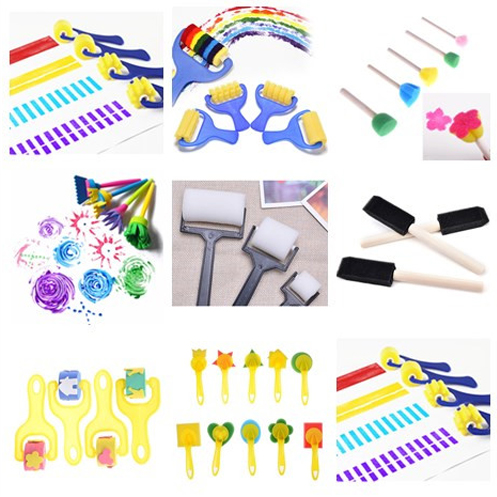 DIY Wooden Sponge  Painting Brushes For Kids Drawing Toys Kindergarten Early Educational Toy Stationery Supplies