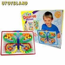 UTOYSLAND 296Pcs Hordozható DIY Gomba Nail Puzzle Peg Board Gyerekek Gyermek Oktatási Játék - Színes Véletlen