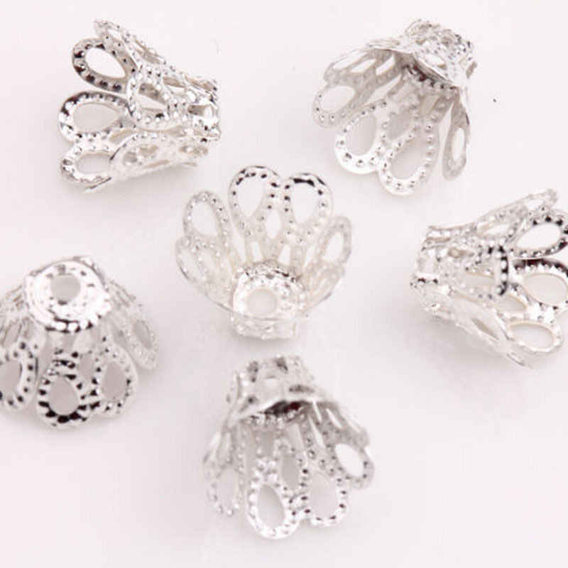 100 قطعة الفضة مطلي خرز بشكل زهرة قبعات 7 مللي متر خرز فضي قبعات النتائج تخريمية زهرة شكل كوب لتقوم بها بنفسك صنع المجوهرات رائجة البيع