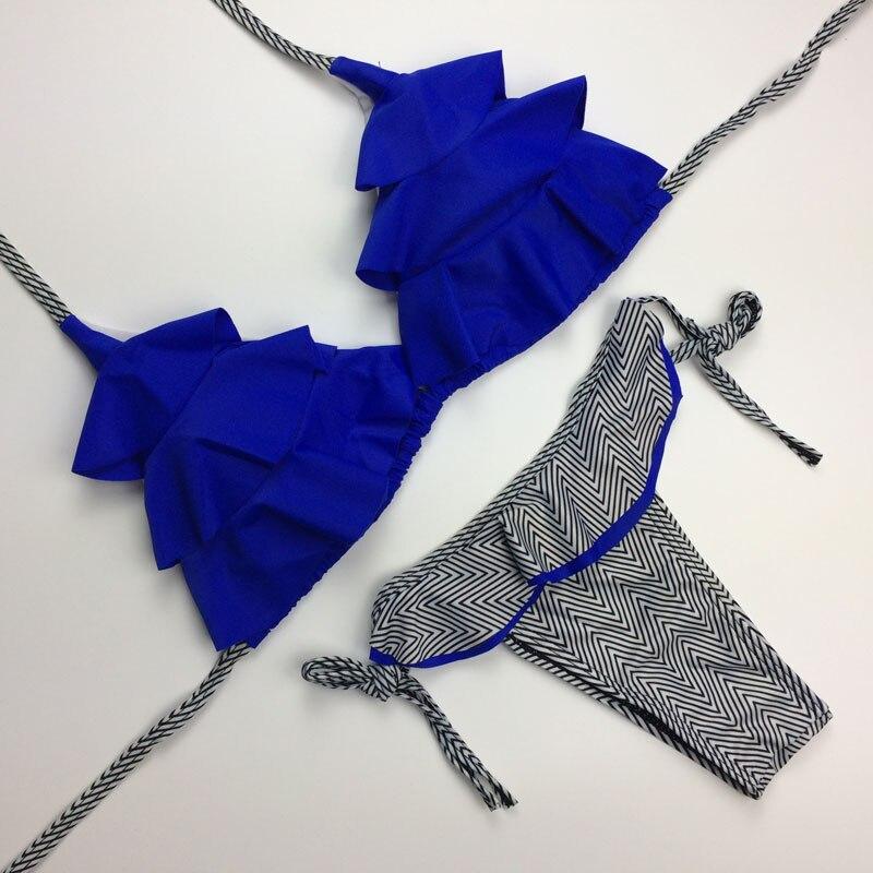 M&M Sexy Bow Tie Bandage Bikini Set Halter Top Ruffled Bikinis Women Swimwear Female Brazilian beach Swim Wear Maillot De Bain stretchy ruffled garter 2pcs with bow tie