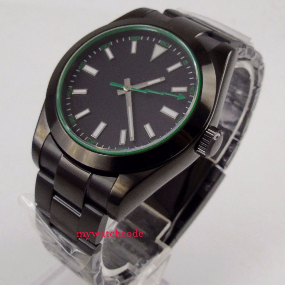40mm PARNIS mens automatic black PVD case black date stainless steel sapphire glass mens watch цена и фото