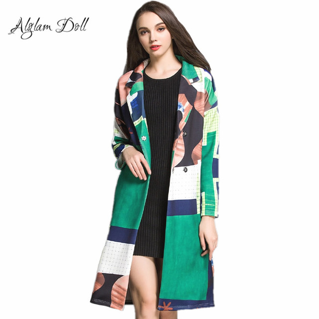 Alglam Muñeca Contraste de Impresión en Color de Doble Botonadura Foso de Las Mujeres de La Rodilla-longitud Delgada Vaina de Dama de La Moda Abrigo de Invierno Femenina prendas de Vestir Exteriores