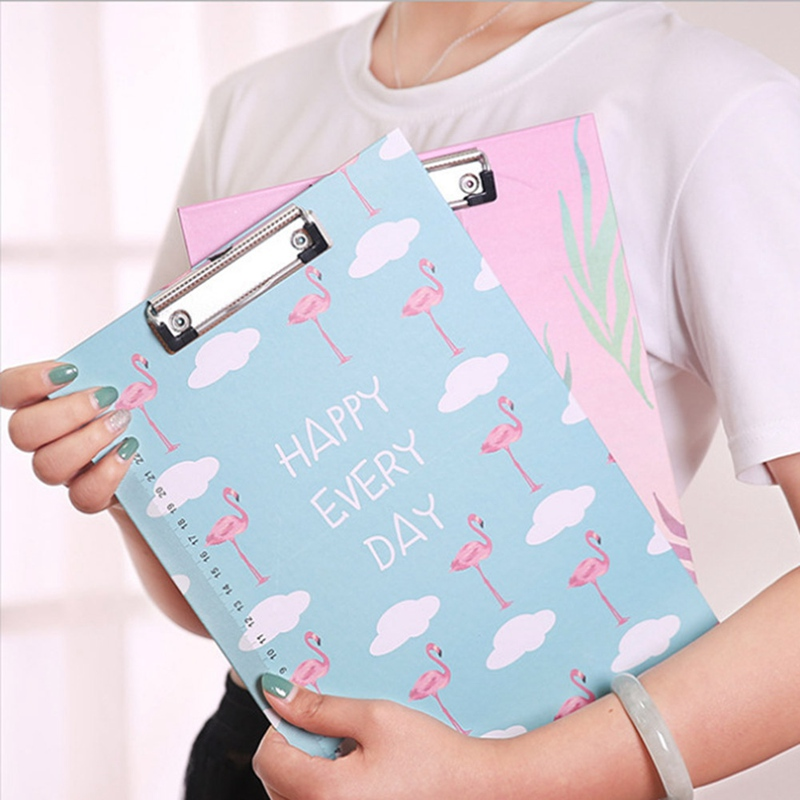 1Pcs A4 Cute Flamingo Totoro Clipboards Lovely Stationery Clip Folder Board Desk File Drawing Writing Pad School Office Supplies