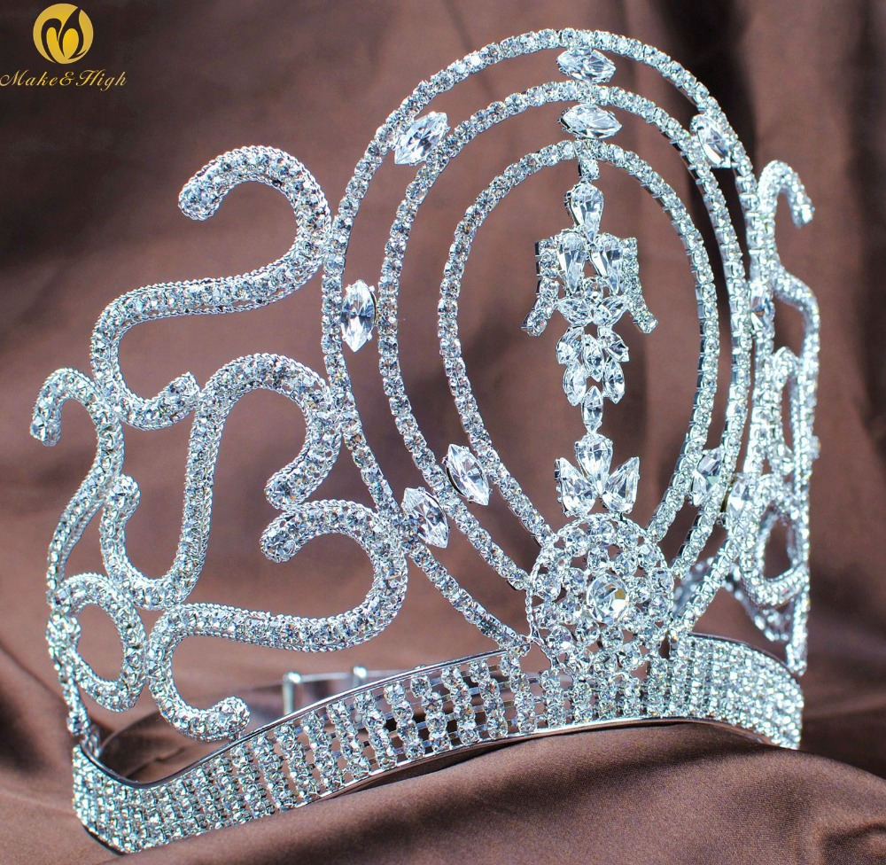 Miss Beauty Pageant Hair Crown Large Tiara Diadem Clear Crystal Rhinestones Headband Bridal Wedding Prom Party Costumes цена