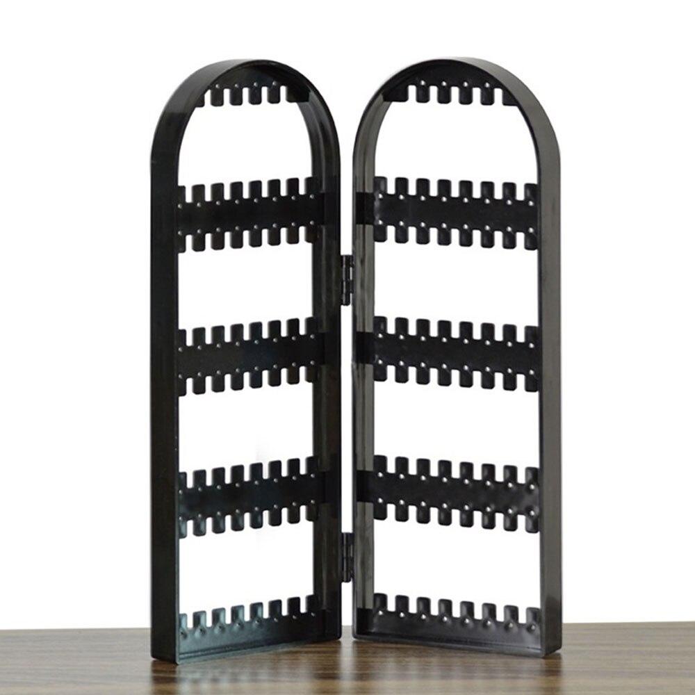 Ювелирные изделия Висячие Держатель пластиковые 2 двери серьги кронштейн стойки аксессуары подарки Подставка серьги рамка ювелирное шоу - Цвет: black