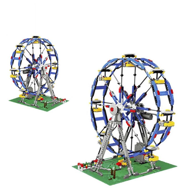 Doinbby 1170Pcs Street View Series 3in1 Electric Ferris wheel Building Blocks Bricks Children For Toys Compatible Legoings 10247 loz diamond building blocks fantastic playground series ferris wheel devil pirate ship dandelion tengyun 3d children bricks toys