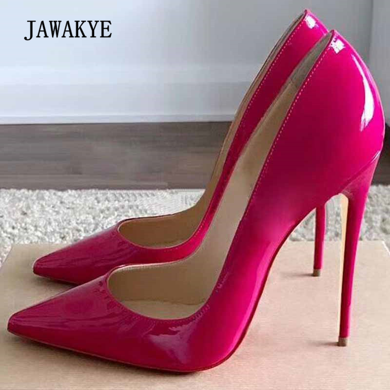 2018 Sexy Rosy Red Patent Leather High Heel Shoes Woman Pointed Toe Shallow Mouth Dress Shoes Lady 2018 Sexy Rosy Red Patent Leather High Heel Shoes Woman Pointed Toe Shallow Mouth Dress Shoes Lady