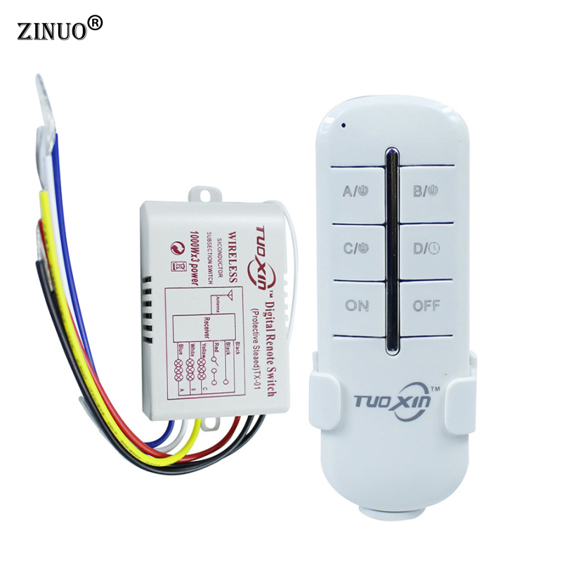 ZINUO1 Way 2 Way 3 Way 220V Wireless ON/OFF Digital RF Remote Controller Switch Receiver Transmitter For LED Ceiling Panel Lamps mayitr 3 way on off wireless remote control switch digital remote control switch receiver transmitter for led light lamp 220v