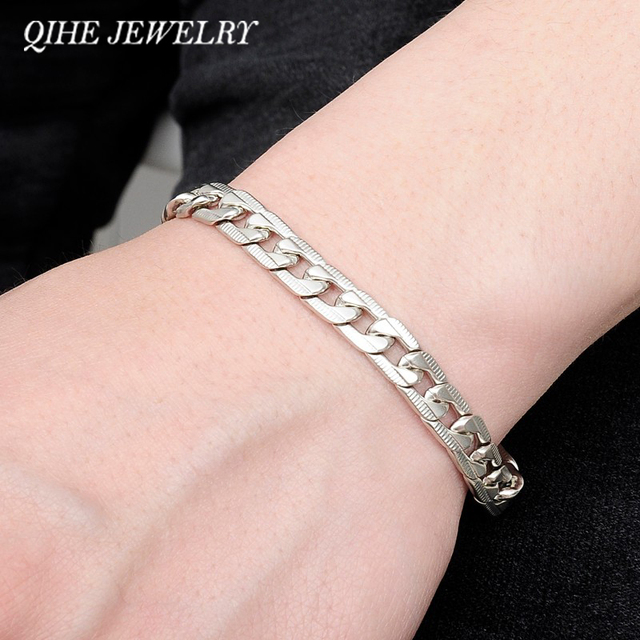 QIHE JEWELRY Wrist Chunky Men's Bracelets Silver Tone Hand Chain Curb Link Jewelry For Mens Gift Pulseiras masculinas