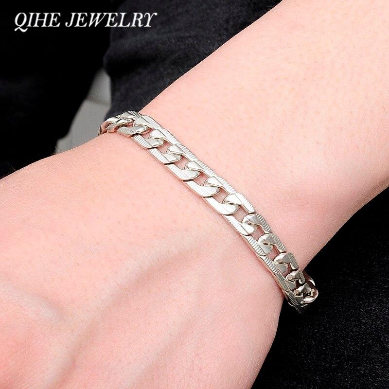 Наручные мужские серебряные браслеты