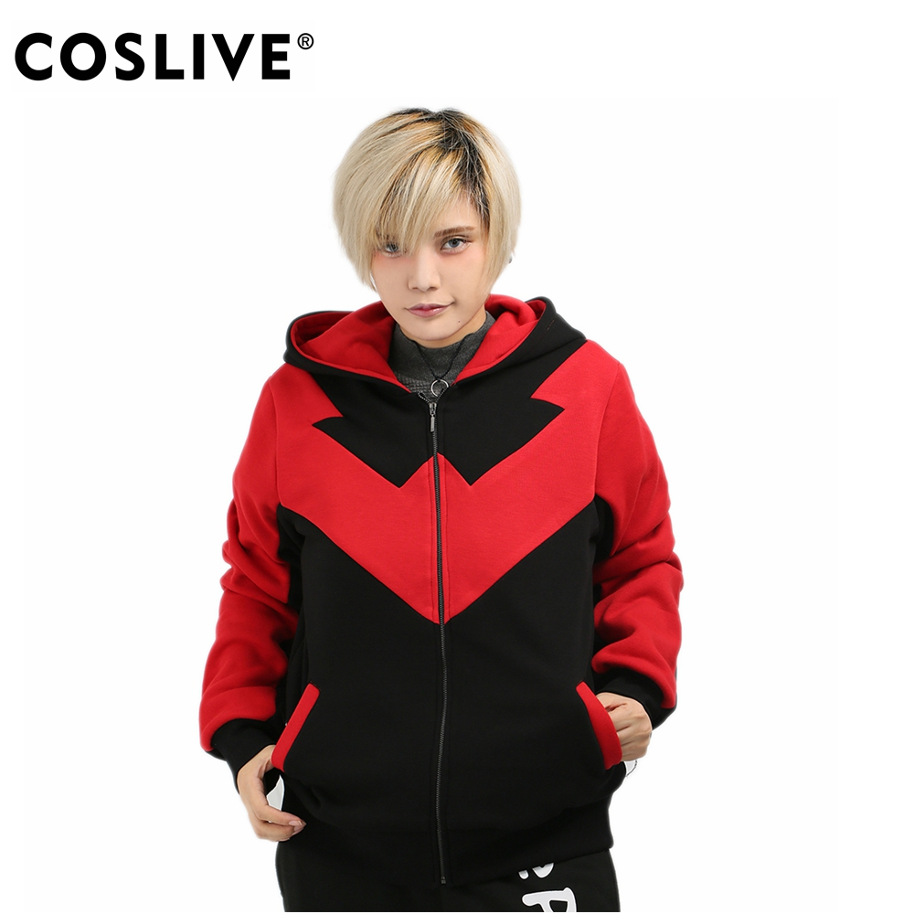 Coslive Batman Series Red Nightwing Cosplay Costume Cotton Zip Up Hoodie for Teenagers