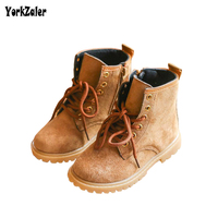 Yorkzaler Autumn Winter Kids Shoes 2018 New Fashion Leather Martin Boots For Girl Boy Black Brown