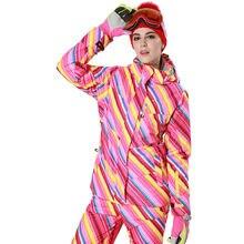 Phibee Winter Women Waterproof Ski Jacket  Rainbow Thick Snow Jacket Windproof  -30 Degree