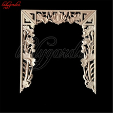 Natural Wood Appliques Square Flower Carving Decals Decorative Wooden Mouldings for Cabinet Door Furniture Decor Craft