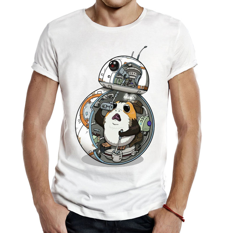 The Last Jedi ''porg'' T-Shirt Star Wars Porg BB-8 T Shirts Funny Novelty Casual Apparel Men Unisex Tees Short Sleeve