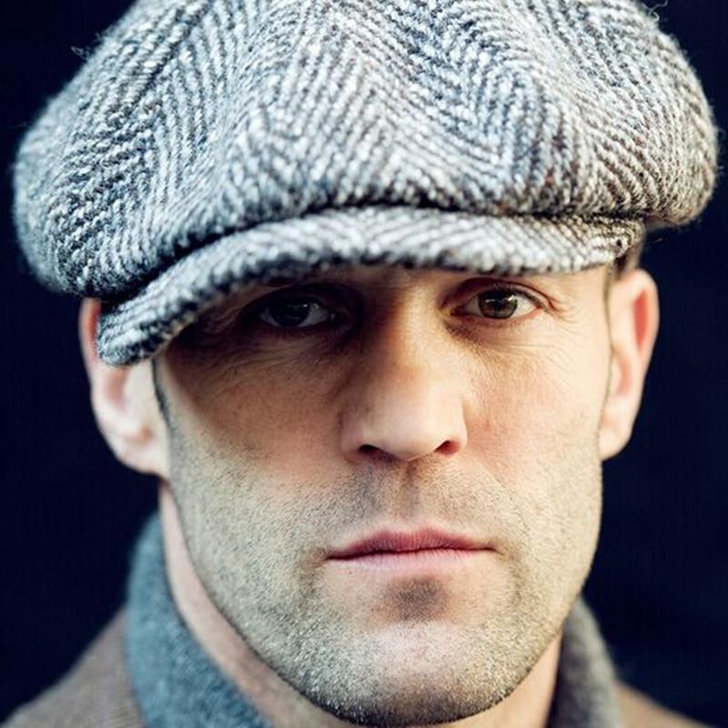 Caballero tapa octogonal newsboy Beret sombrero hombres Otoño Invierno  Jason Statham modelos masculinos casquillos planos conducción moda gorras  en Boinas ... b0b2257c775