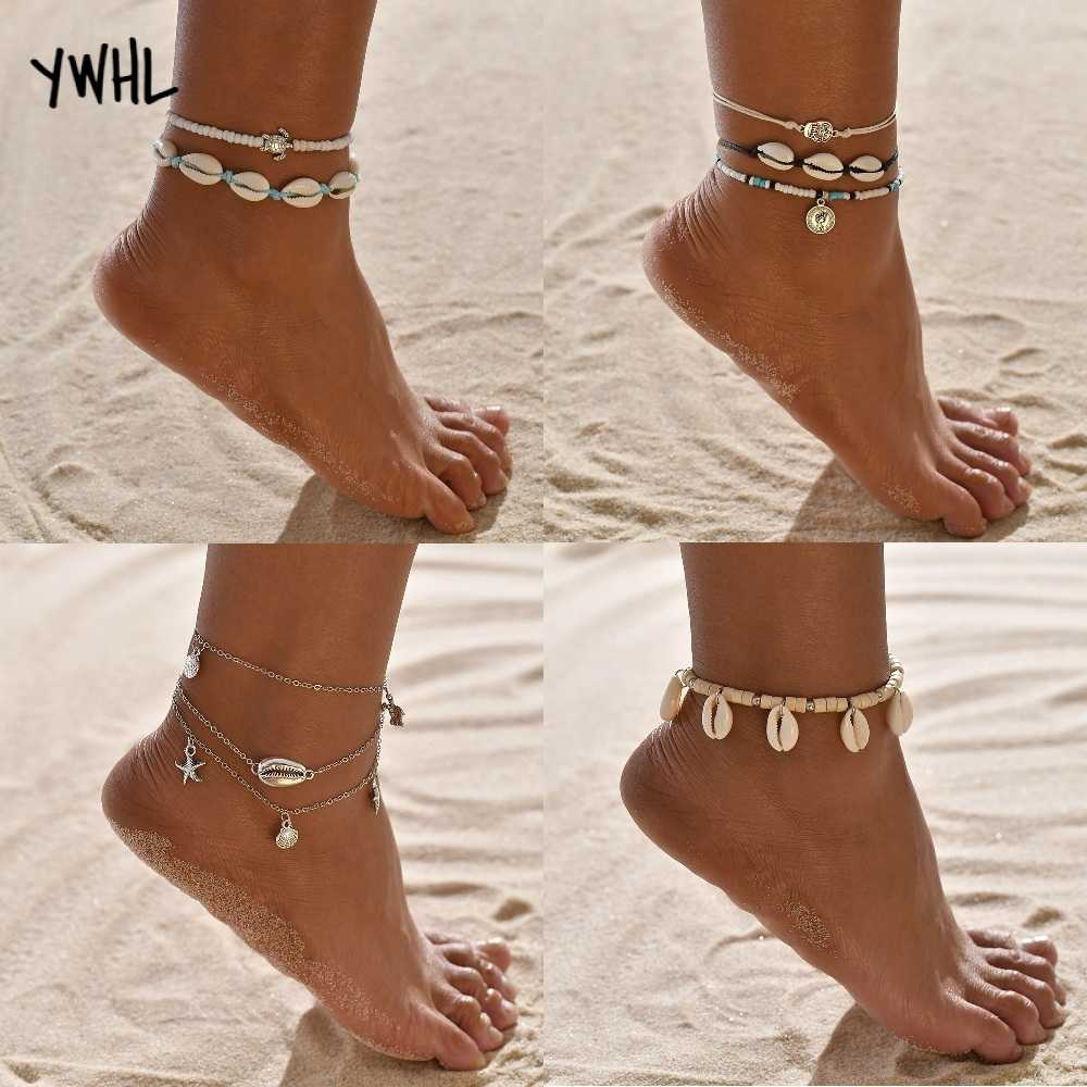 boho barefoot sandals shell anklet foot jewelry handmade weave starfish sea turtle ankle bracelet beach accessories women gifts