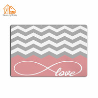 Memory Home Love Infinity Forever Love Symbol Chevron Pattern Pink Grey White Fabric Non Slip Indoor