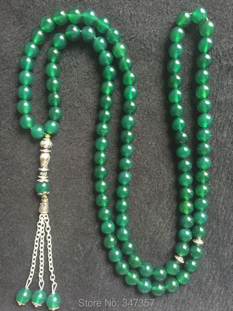 8mm  Beads 99pcs Round Shape Green Agate  Stone Kehribar Tesbih Islamic Muslim prayer beads Tasbih Allah  free shipping