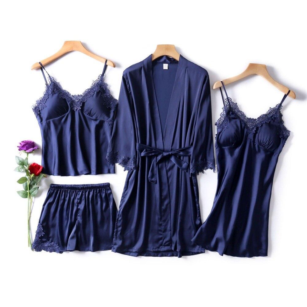 Navy Blue Women Rayon Sleepwear Set 4 Pieces Long Sleeve Pajama Set Summer Pyjama Femme V-neck Pijama Fashion Home Clothing