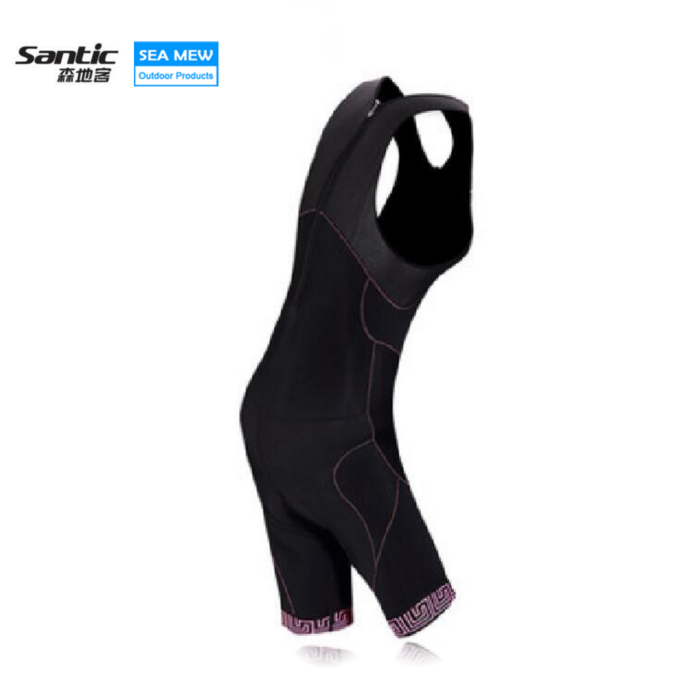 Santic Women New Triathlon Cycling Shorts Gel Pad Bib Negro Vetement Cuissard Bretelles Damping Ropa De Ciclista Mtb Clothes