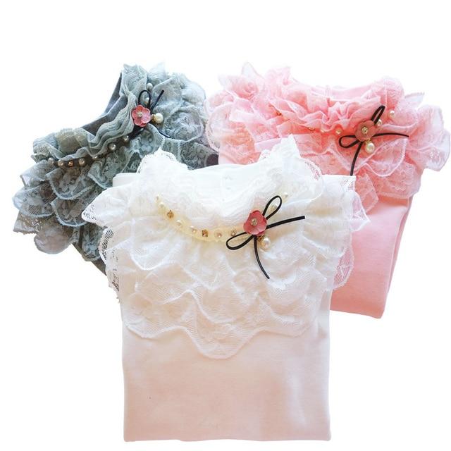 School Girl School Blouse Thermal Underwear For Children Autumn / Winter Long Sleeve Plus Velvet Thick 100% Cotton Lace Princess