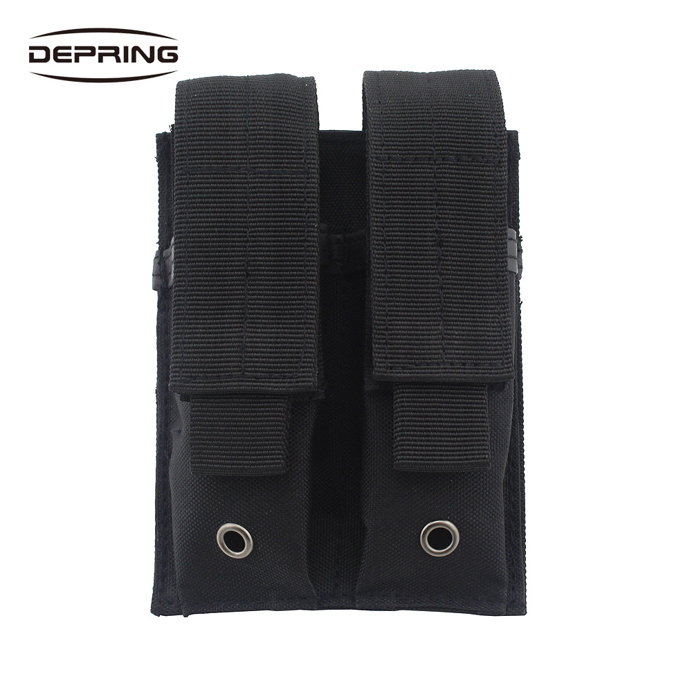 Molle Tactical Dual Pistol Mag Pouch Double Handgun Magazine Holster Flashlight Tool Knife Sheath Holder 1000d molle men tactical admin magazine storage pouch pistol gun holster bag edc utility accessory pack mag map flashlight bag